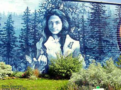 Opal Whiteley is remembered in this mural in downtown Cottage Grove.