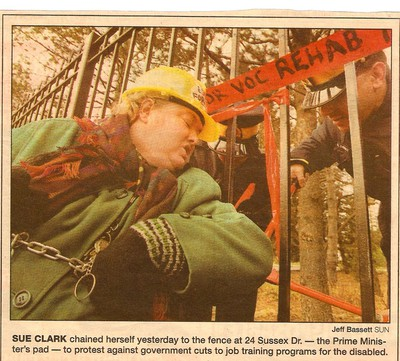 Sue Clark-Wittenberg chains herself to Canadian Prime Minister's fence