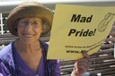 "Sally Zinman shows her ""Mad Pride"" at protest of American Psychiatric Association"