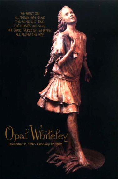 A statue of Opal Whiteley