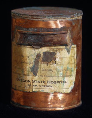 One of the ash cans containing more than 5,000 patients at Oregon State Hospital.